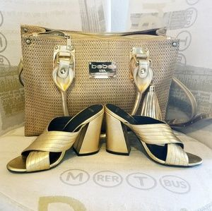 Gold bag and matching shoes